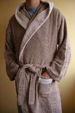 NATURA SPA EDITION MEN HOODED COTTON TERRY BATHROBE-SIZE L/XL-COLOR BROWN/BEIGE