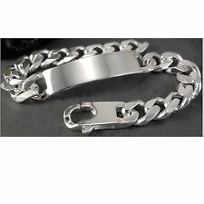 HOLIDAY SALE! CURB LINK I.D. BRACELET SOLID .925 STERLING SILVER Made in Italy