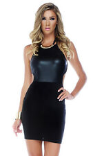 Two toned bodycon dress with matte top and contrast scuba bottom strappy Black