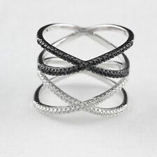 Womens Solid 925 Sterling Silver CZ Knuckle Black White Double Highway X Ring