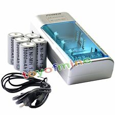 6x D Size D-Type 13000mAh 1.2V Ni-MH Rechargeable Battery + Universal Charger