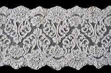 """10.5"""" Ivory Corded Handsewn Beaded Sequins Embroidered Lace by Yardage"""
