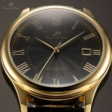KS Imperial Series Mens Roma Dial Date Leather Automatic Mechanical Sport Watch