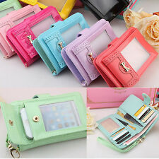 Wristlet Flip PU Wallet Card Holder Case Coin Bag Pouch Purse For iPhone 5s