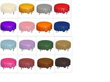 "Solid Colors 84"" Round Plastic Tablecloths Tablecovers Party Table Covers"