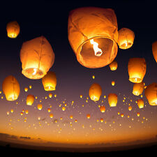 HUGE Lot White Paper Chinese Lanterns Sky Candle Wishing Birthday Party Wedding
