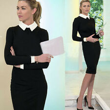 Lady's Peter Pan Collar Black Solid Cocktail Party Wear to Work Sheath Dress do