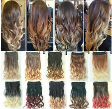 Dip dye Clip in on Ombre Hair Extensions Synthetic Straight Curly Wavy Xmas Gift