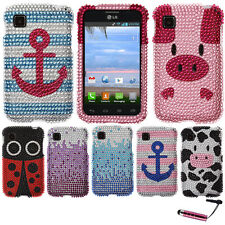 FOR LG OPTIMUS DYNAMIC II L39C Large Waterfall Blue HARD Bling Case Cover + Pen