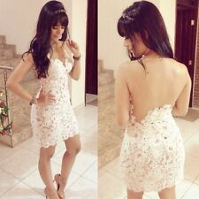 Hot Women Sexy Backless Straps Lace White Club Party Ball Cocktail Mini Dress