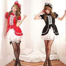 Anime Girl Cute Sexy Cosplay Maid Costume Lolita Princess Dress Bowknot Headwear