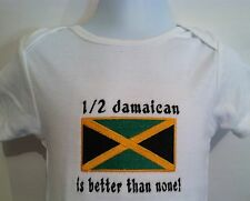 1/2 Jamaican is better than none! Jamaica Flag Carter's Baby Bodysuit Embroidery