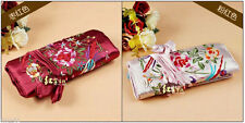 Wine Red /Pink Silk Jewelry Travel Bag Roll Case Pouch Carrying Brocade Fabric