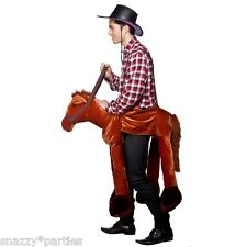 Adult RIDE ON HORSE Wild West Cowboy Fancy Dress Costume Unisex