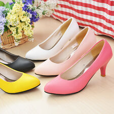 Womens Ladies Kitten Mid Heel Pointed Toe Slip On Court Pumps Shoes UK 2.5-8 S08