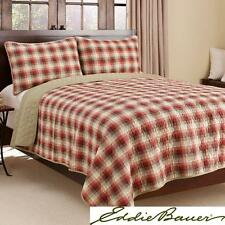 New Eddie Bauer Plaid 3-piece Reversible Quilt Set Full Queen