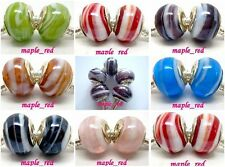 Beautiful Imitation Shell Design European Style Lampwork Glass Bead fit Bracelet