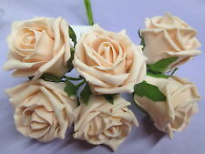 Quality 50mm Artificial  Roses Vintage Peach Wedding / Craft Flowers Colourfast*