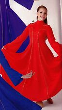 NWT PRAISE DRESS LITURGICAL DANCE Red Gold Foil Cross detail Ladies Long SLeeve