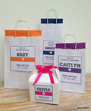 PERSONALISED PAPER WEDDING GIFT BAGS PARTY FAVOUR WHITE WITH TISSUE - STRIPE