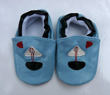 PAIR PEEKABOOT BLUE LITTLESAILOR LEATHER SLIP ON BABY SHOES 6cm OR 6.5cm WIDE