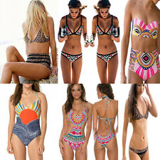 New Women's Swimwear Bandage Bikinis Set Ladies Triangle Push-Up Print Swimsuit