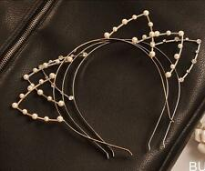 BUUK Silver/Golden Sexy Cat Ear Girl Head Band Beaded Fashion Hair Band Metal