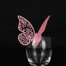 100pcs Lovely Wedding Party Wine Glass Escort Buterfly Place cards HDBK002