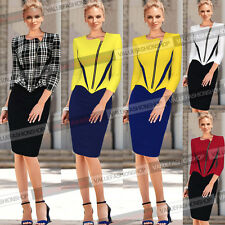 Womens Elegant Front Zip Colorblock Tunic Slimming Work Casual Sheath Dress 248