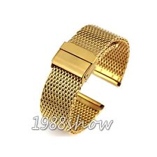 New Fashion 18 20 22 24mm Gold Stainless Steel Bracelet Strap Watch Mesh Band