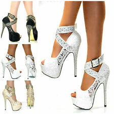 LADIES WHITE BEIGE BLACK LACE GOLD STUDS AND GOLD SOLE HIGH HEEL PLATFORM SHOES