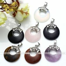 1pc Vintage Gemstone Round Circle Bead Charms Healing Point Pendant For Necklace