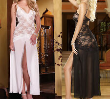 Women Babydoll Lace Hollow-Out Long Dress Sheer Sleepwear Sexy V Neck Lingerie