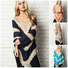 Umgee USA Crochet Mix Bohemian Hippie Long Tunic Top S M L TEAL CORAL NAVY NATRL