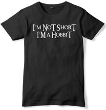 I'm Not Short I'm A Hobbit Funny Slogan T-Shirt Black