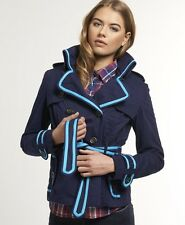 New Womens Superdry Cropped Vintage Mac Jacket Churchill Navy VH