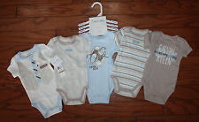 NWT Calvin Klein Baby Boys 5 pack Bodysuits Blue Tan Cream Infant Sizes