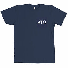 Alpha Tau Omega AMERICAN APPAREL POCKET Navy T Shirt Fraternity Letters Tee NEW