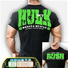NEW Monsta Clothing HULK OUT: FEEL THE RUSH (Black) Workout Bodybuilding Gym Tee