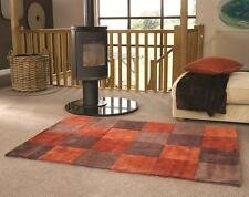 Infinite Blocks Squared Rust Orange Chocolate Brown Rug in various sizes