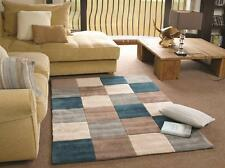 Infinite Blocks Squared Teal Duck Egg Blue Beige Rug in various sizes