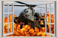 APACHE ARMY HELICOPTER 3D Window View Decal WALL STICKER Decor Art Mural