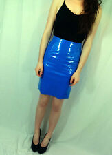 ♥New TOPSHOP Sexy Blue Faux Patent Leather PVC Pencil Skirt Size 4 6 8 10 12 14♥