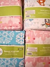 Circo Flannel Sheet Set:Pink Cat Kitten Bunny Unicorn Yeti Snowball Twin Full
