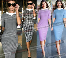 Womens Celebrity Colorblock Check Tunic Business Casual Party Pencil Dress 925