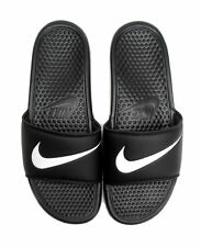 Nike Benassi Swoosh Slide Black White Sandals Slippers 312618-011 Casual Rare