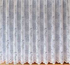 4040 NEW TRADITIONAL DAISY FLORAL LEAVES THICK HEAVY WHITE LACE NET CURTAIN
