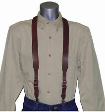 Burgundy Leather Suspenders with scissor snaps no slip trigger snaps