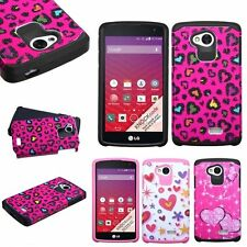 For LG Optimus F60 Tribute LS660 Transpyre  Pattern Hybrid Dual Layer Case Cover