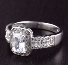 Womens 925 Sterling Silver CZ Micro Pave Baguette  Solitaire Engagement Ring